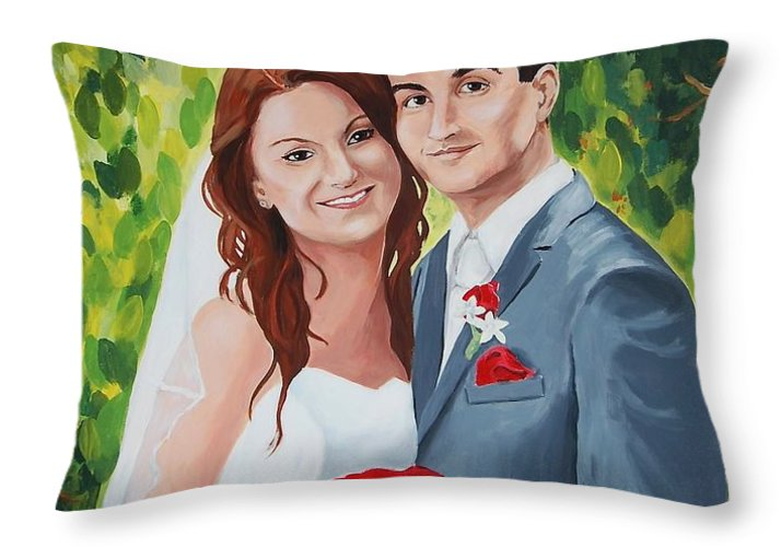 Wedding Throw Pillow featuring the painting Their Wedding Day by Judy Swerlick
