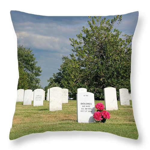 Wife Throw Pillow featuring the photograph Their Wives Are With Them In Arlington by Cora Wandel