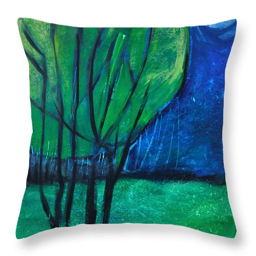 Trees Throw Pillow featuring the painting Then Came Evening by Tim Nyberg