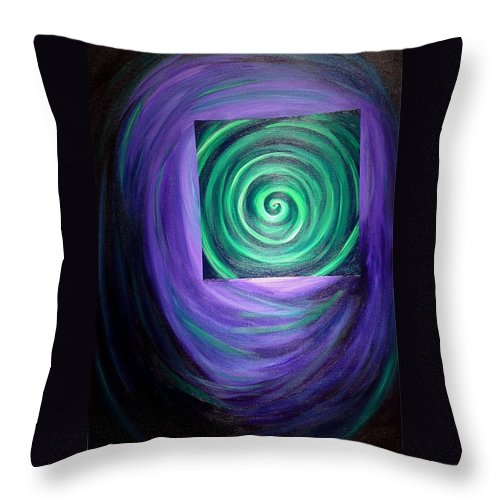 Original Throw Pillow featuring the painting Then There Was Green by Melissa Joyfully