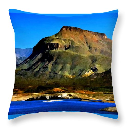Theodore Roosevelt Throw Pillow featuring the painting Theodore Roosevelt Lake Arizona by Bob and Nadine Johnston