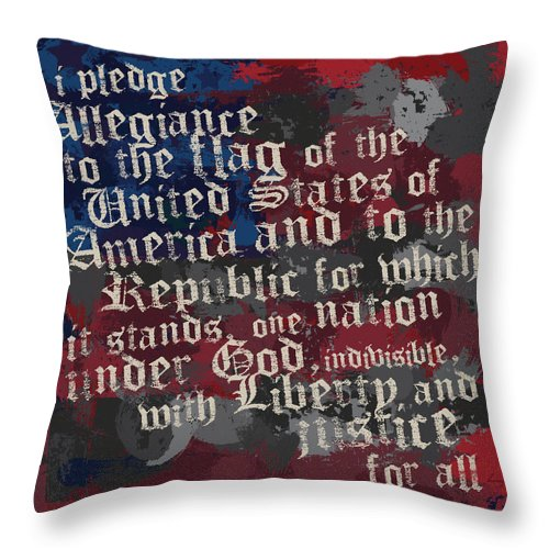 America Throw Pillow featuring the photograph thePledge by Brenny Moore