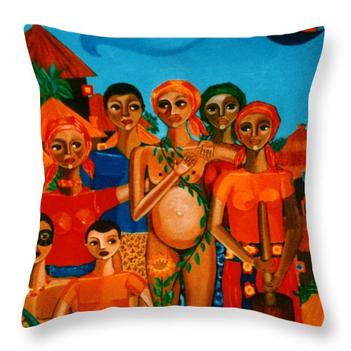 Pregnant Women Throw Pillow featuring the painting There Are Always Sunflowers For Those Waiting A New Life by Madalena Lobao-Tello