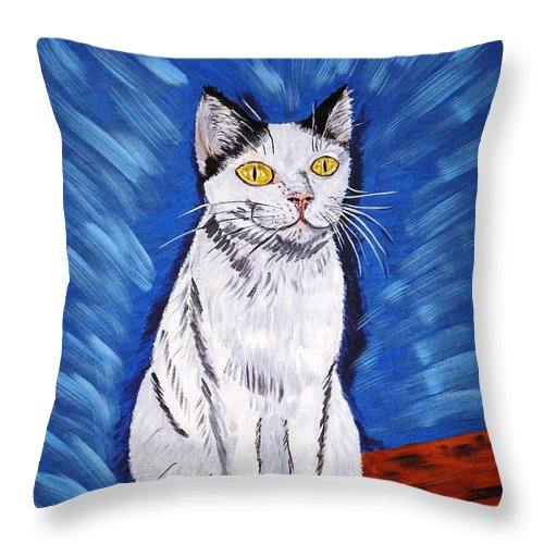 Cat Throw Pillow featuring the painting There Is A Bird by Valerie Ornstein