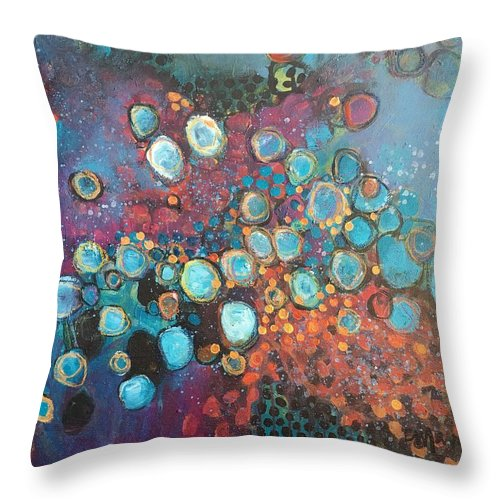 Circle Throw Pillow featuring the painting There Is Great Gratitude In The Reckoning by Laurie Maves ART