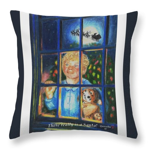 Santa Throw Pillow featuring the drawing There Really is a Santa by Quwatha Valentine