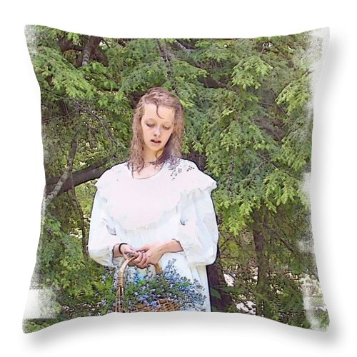 Girl Throw Pillow featuring the photograph There Was A Little Girl... by Rose Guay