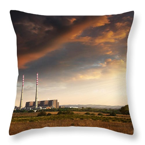 Building Throw Pillow featuring the photograph Thermoelectrical Plant by Carlos Caetano