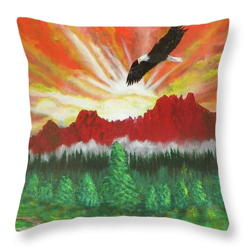 Acrylic Throw Pillow featuring the painting They That Wait Upon The Lord  Isa 40 31 by Laurie Kidd