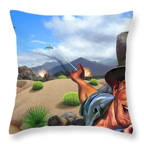 Landscape Throw Pillow featuring the digital art They're Here by Snake Jagger