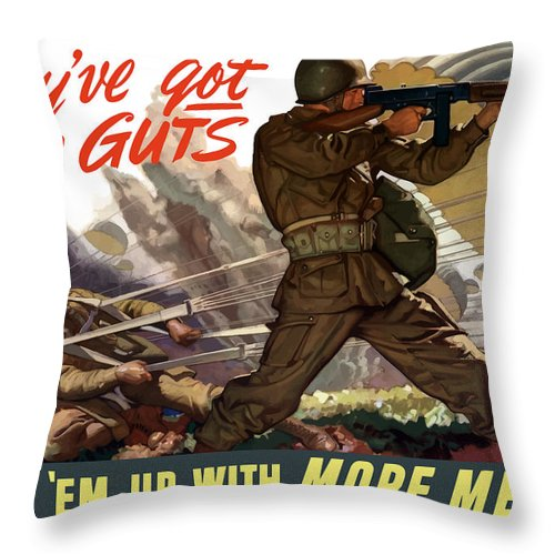 Airborne Throw Pillow featuring the painting They've Got The Guts by War Is Hell Store