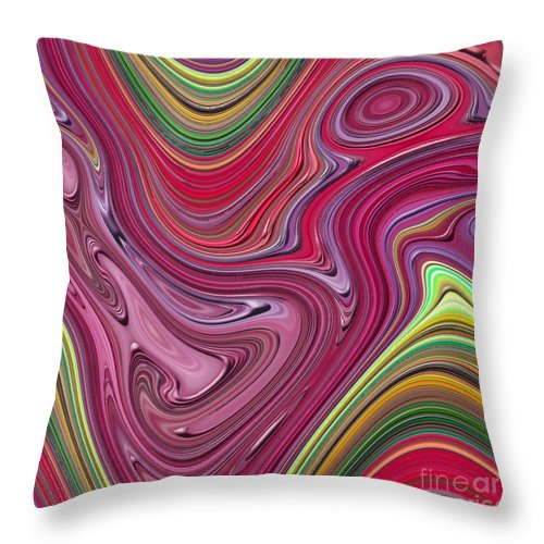 Colorful Throw Pillow featuring the digital art Thick Paint Abstract by Melissa A Benson