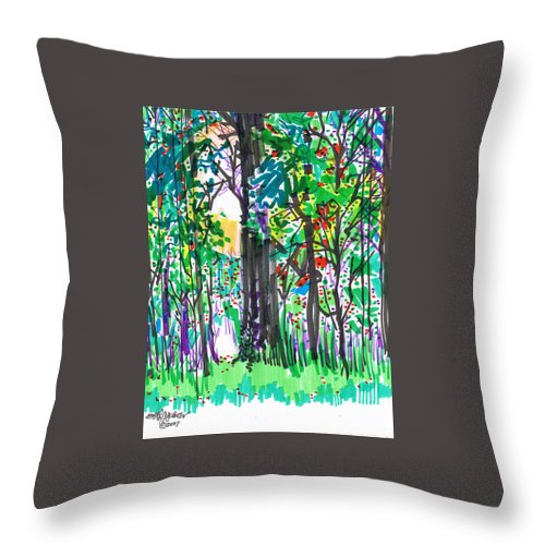 Forest Throw Pillow featuring the drawing Thicket by Seth Weaver