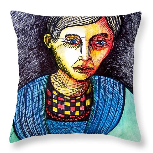 Drawing Throw Pillow featuring the drawing Thinking Dream by Stephen Hawks