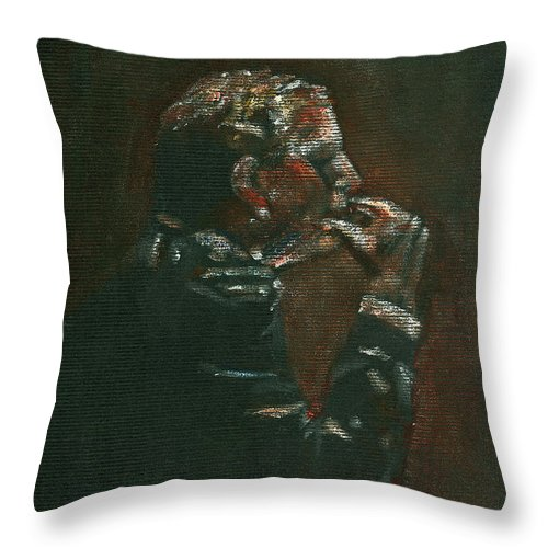 Man Throw Pillow featuring the painting Thinking It Over by Arline Wagner