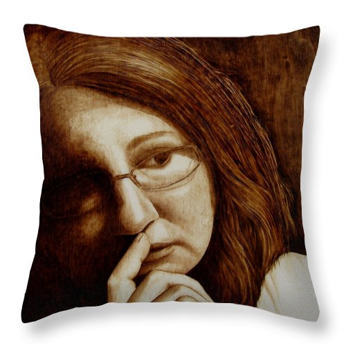 Pyrography; Woodburning; Sepia; Head; Hand Throw Pillow featuring the pyrography Thinking by Jo Schwartz