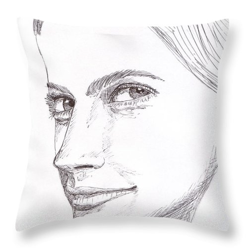 Ink Throw Pillow featuring the drawing Thinking by M Valeriano