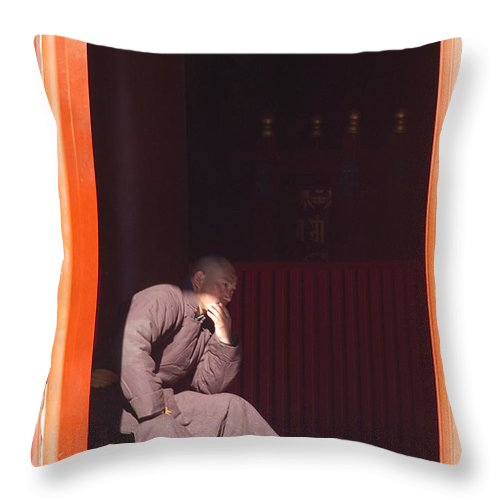 China Throw Pillow featuring the photograph Thinking Monk by Sebastian Musial