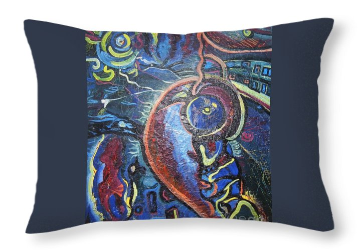 Abstract Contemporary Home Blue Oil Canvas Board Throw Pillow featuring the painting Thinking Of Home by Seon-Jeong Kim