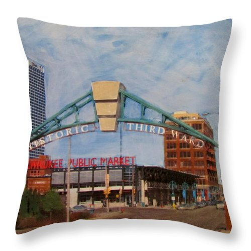 Milwaukee Throw Pillow featuring the mixed media Third Ward Arch Over Public Market by Anita Burgermeister