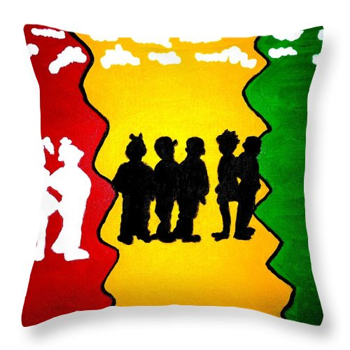 Acrylic Throw Pillow featuring the painting Thirdworld Kids by Lorna Lorraine