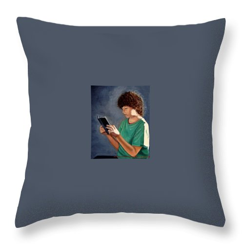 Portrait Throw Pillow featuring the painting Thirst For Knowledge by Toni Berry