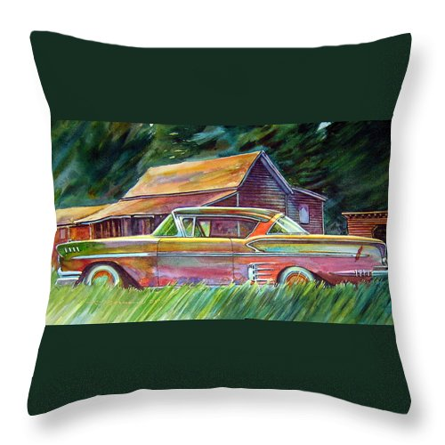 Rusty Car Chev Impala Throw Pillow featuring the painting This Impala Doesn by Ron Morrison