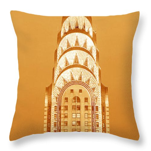 Photography Throw Pillow featuring the photograph Chrysler Building at sunset by Panoramic Images