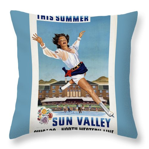 Sun Valley Throw Pillow featuring the mixed media This Summer Sun Valley - Chicago And North Western Line - Retro Travel Poster - Vintage Poster by Studio Grafiikka