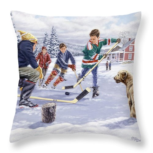 Hockey Throw Pillow featuring the painting This Time For Sure by Richard De Wolfe