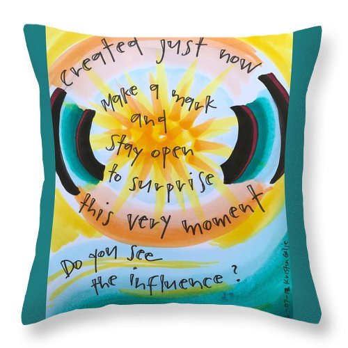 Creativity Throw Pillow featuring the painting This Very Moment by Vonda Drees
