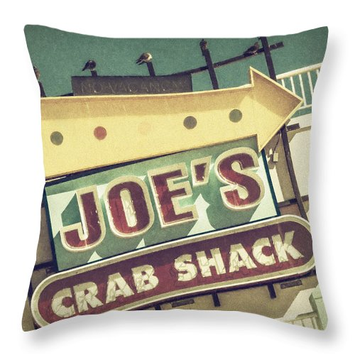 Joan Carroll Throw Pillow featuring the photograph This Way To Joe's Crab Shack by Joan Carroll