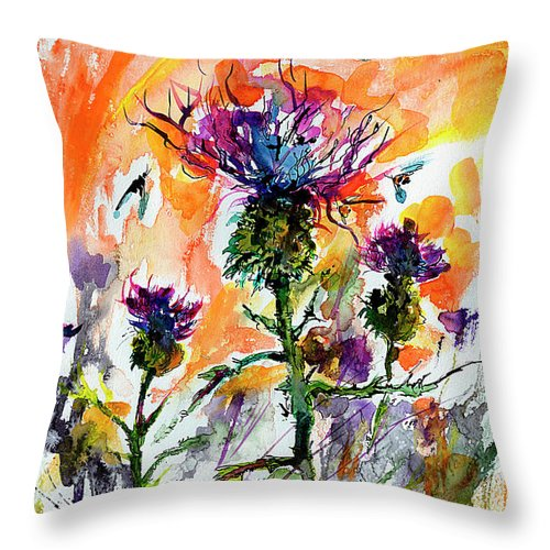 Thistles Throw Pillow featuring the painting Thistles And Bees Watercolor And Ink by Ginette Callaway