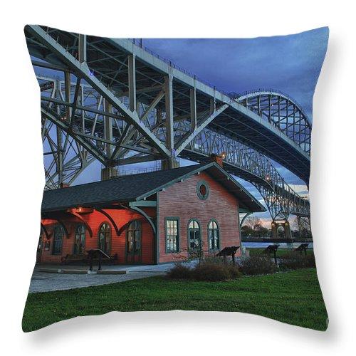 Thomas Edison Throw Pillow featuring the photograph Thomas Edison Train Depot And Blue Water Bridges by Scott Bert