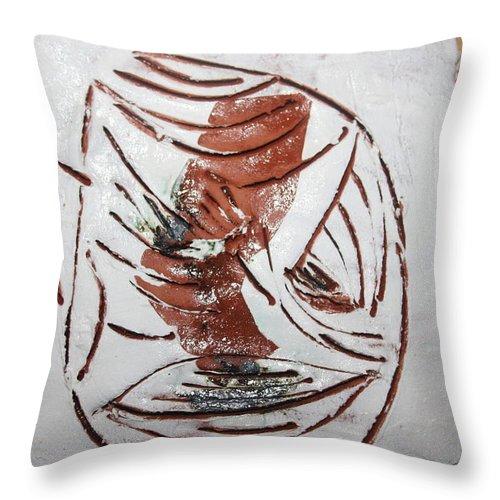 Jesus Throw Pillow featuring the ceramic art Thomas -tile by Gloria Ssali