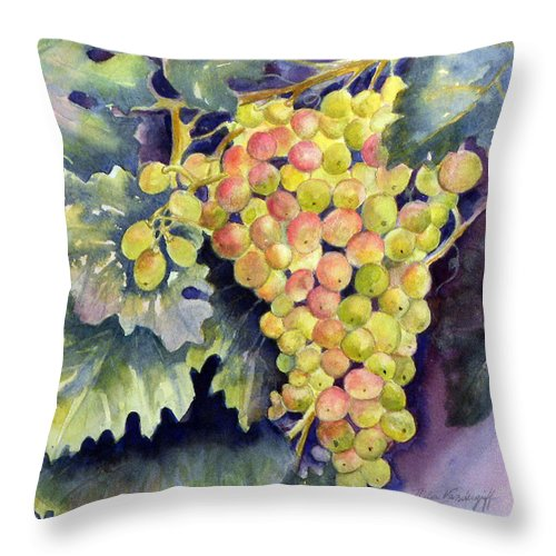 Green Grapes Throw Pillow featuring the painting Thompson Grapes by Hilda Vandergriff