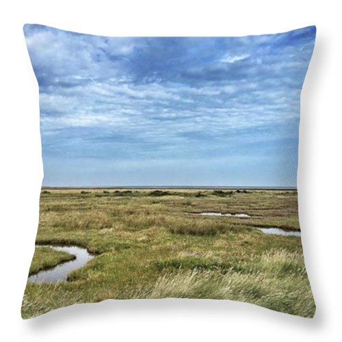 Throw Pillow featuring the photograph Thornham Marshes, Norfolk by John Edwards