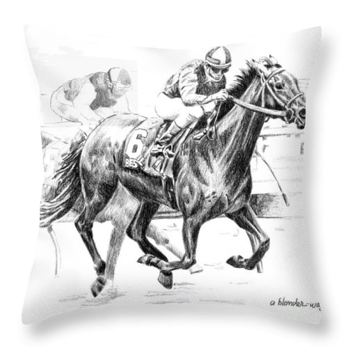Thoroughbred Throw Pillow featuring the drawing Thoroughbred Best Pal by Arline Wagner