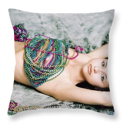 Female Artistic Nude Throw Pillow featuring the photograph Those Eyes by Tom Hufford