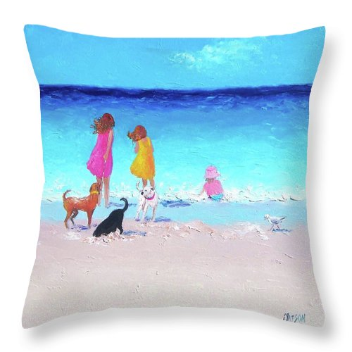 Beach Throw Pillow featuring the painting Those Summer Days by Jan Matson