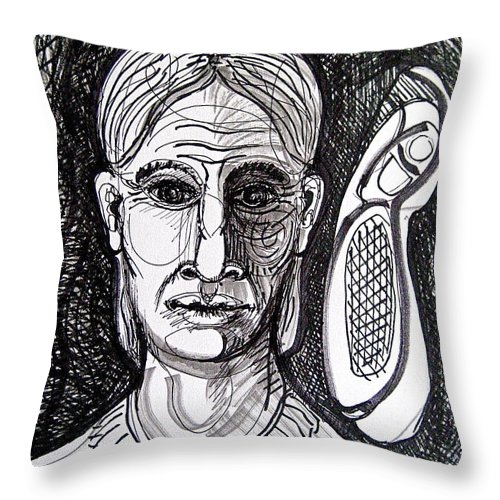 Ink Dawing Throw Pillow featuring the drawing Thought Form by Stephen Hawks
