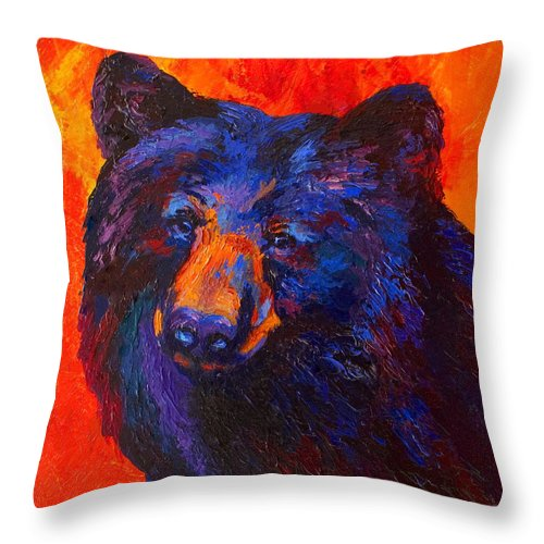 Bear Throw Pillow featuring the painting Thoughtful - Black Bear by Marion Rose