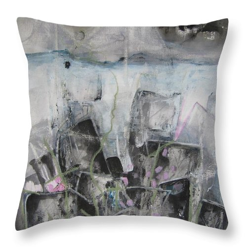 Cemetery Throw Pillow featuring the painting Three Arms by Seon-Jeong Kim