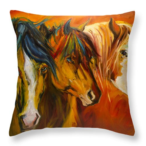 Horse Throw Pillow featuring the painting Three at the Fence Line by Diane Whitehead