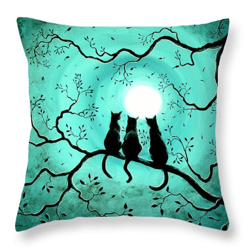 black throw pillow featuring the painting three black cats under a full moon by laura iverson