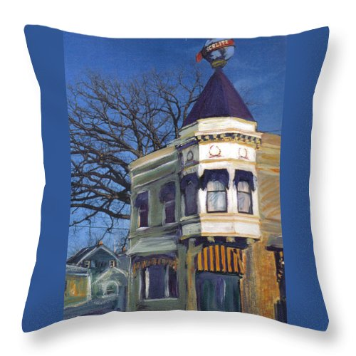 Miexed Media Throw Pillow featuring the mixed media Three Brothers by Anita Burgermeister