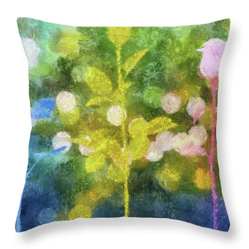 Flowers Throw Pillow featuring the painting Three Buds by Jamie Holbrook