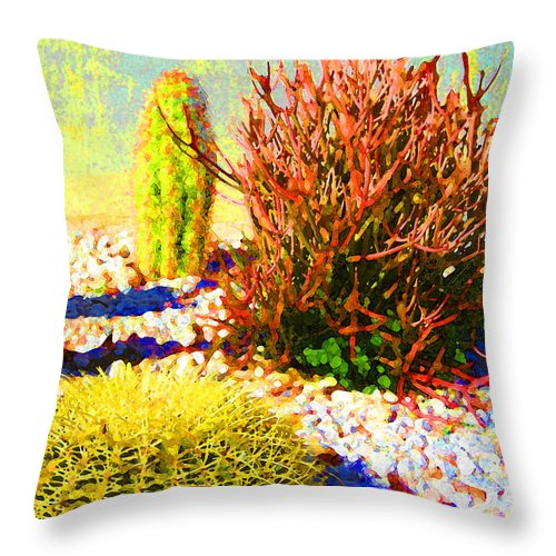 Landscape Throw Pillow featuring the painting Three Cacti by Amy Vangsgard