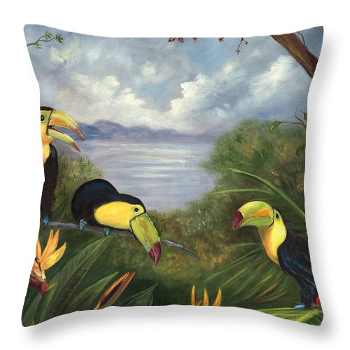 Landscape Throw Pillow featuring the painting Three Cans by Anne Kushnick