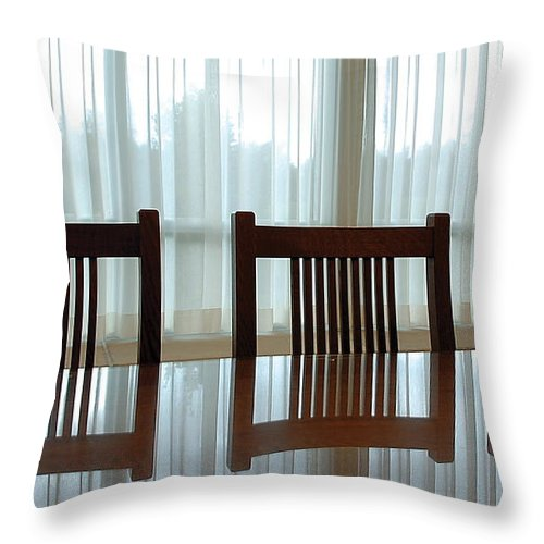 Chairs Throw Pillow featuring the photograph Three Chairs Reflection by Steve Somerville